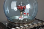 "Art Deco Japanese ""Fishbowl"" Clock with Swimming Goldfish"
